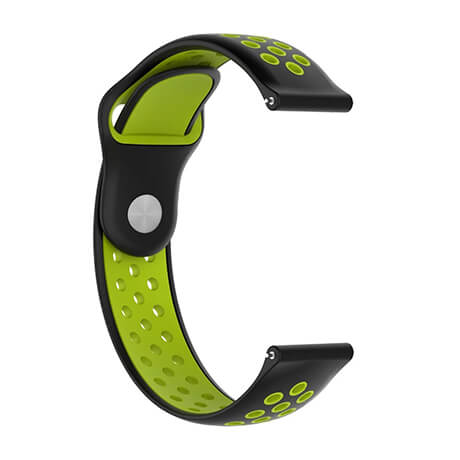 Black/Green dual color hole reverse buckle silicone band for Haylou LS02