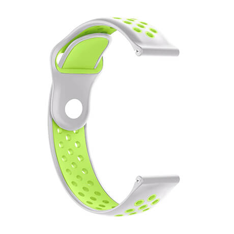 White/Green dual color hole reverse buckle silicone band for Haylou LS02