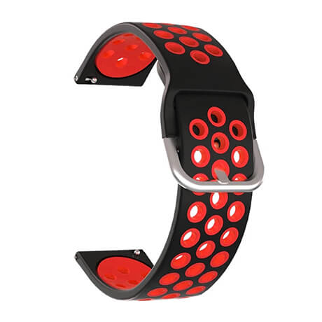Black/Red dual color hole silicone watch band for Haylou LS02