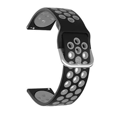Black/Gray dual color hole silicone watch band for Haylou LS02