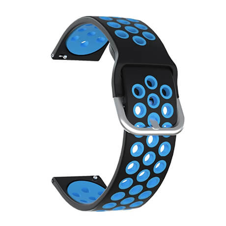 Black/Blue dual color hole silicone watch band for Haylou LS02
