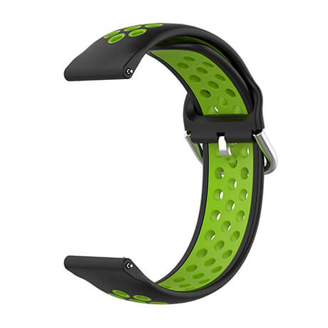 Black/Green dual color hole silicone watch band for Haylou LS02