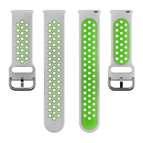 Gray/Green dual color hole silicone watch band for Haylou LS02