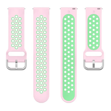 Pink/Green dual color hole silicone watch band for Haylou LS02