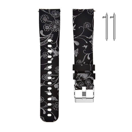 Black flowers print soft silicone band for Haylou LS02