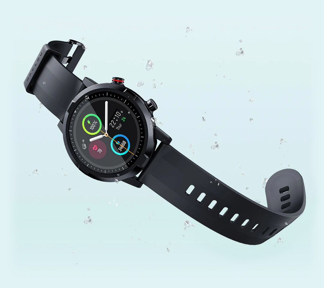 Haylou RT LS05S Smart watch on blue with a drops of water