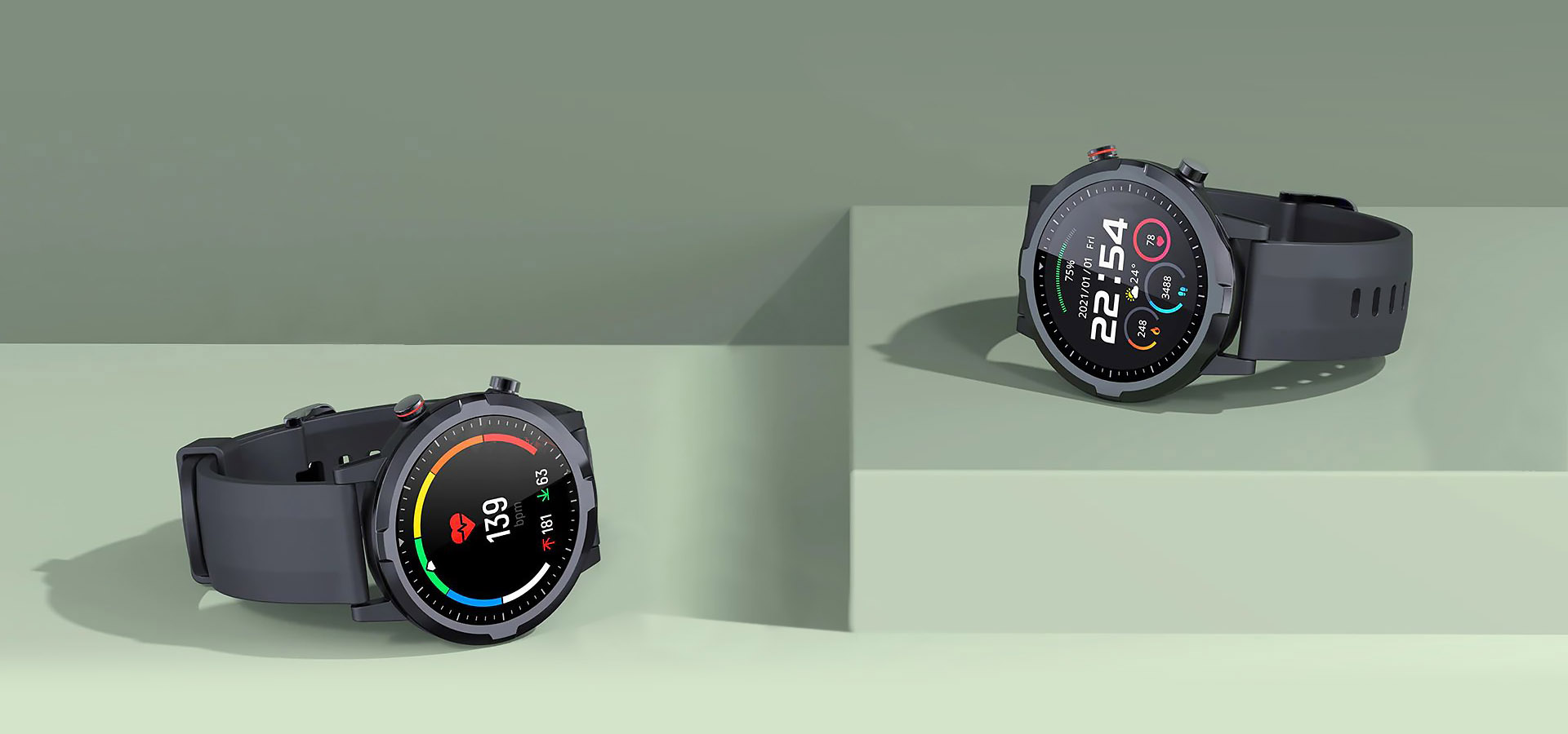 Haylou RT LS05S Two smart watches on green